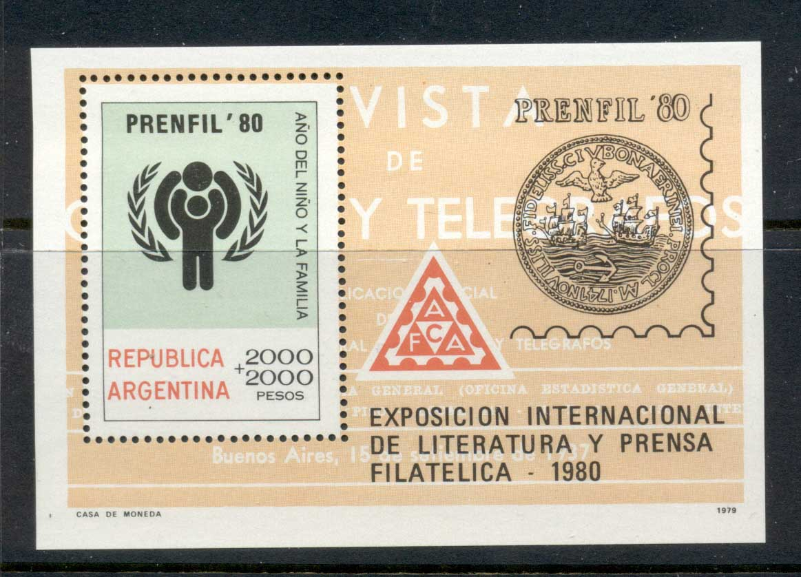 Argentina 1979 IYC International year of the Child Penfil MS MUH