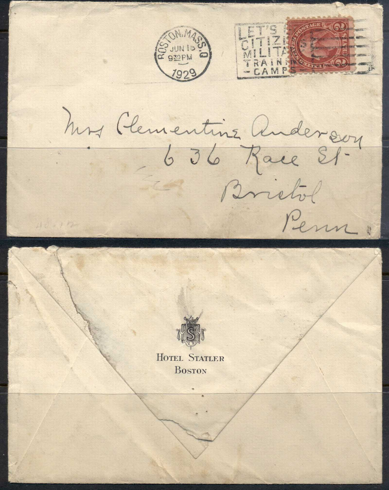 USA 1922-38 Fourth Bureau Washington 2c Statler Hotel Boston 1929 cover