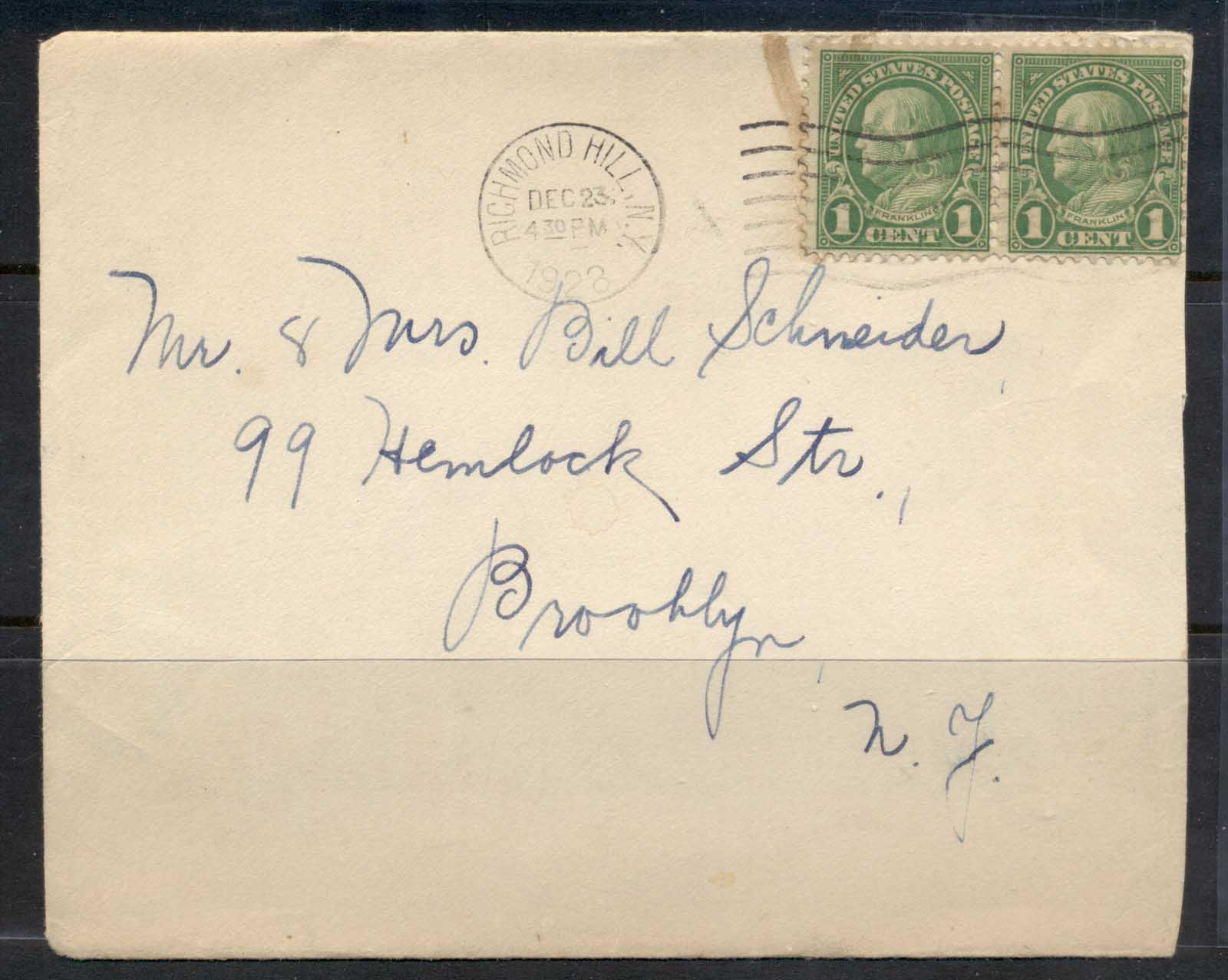 USA 1922-38 Fourth Bureau Franklin 2x1c Richmond Hill cover