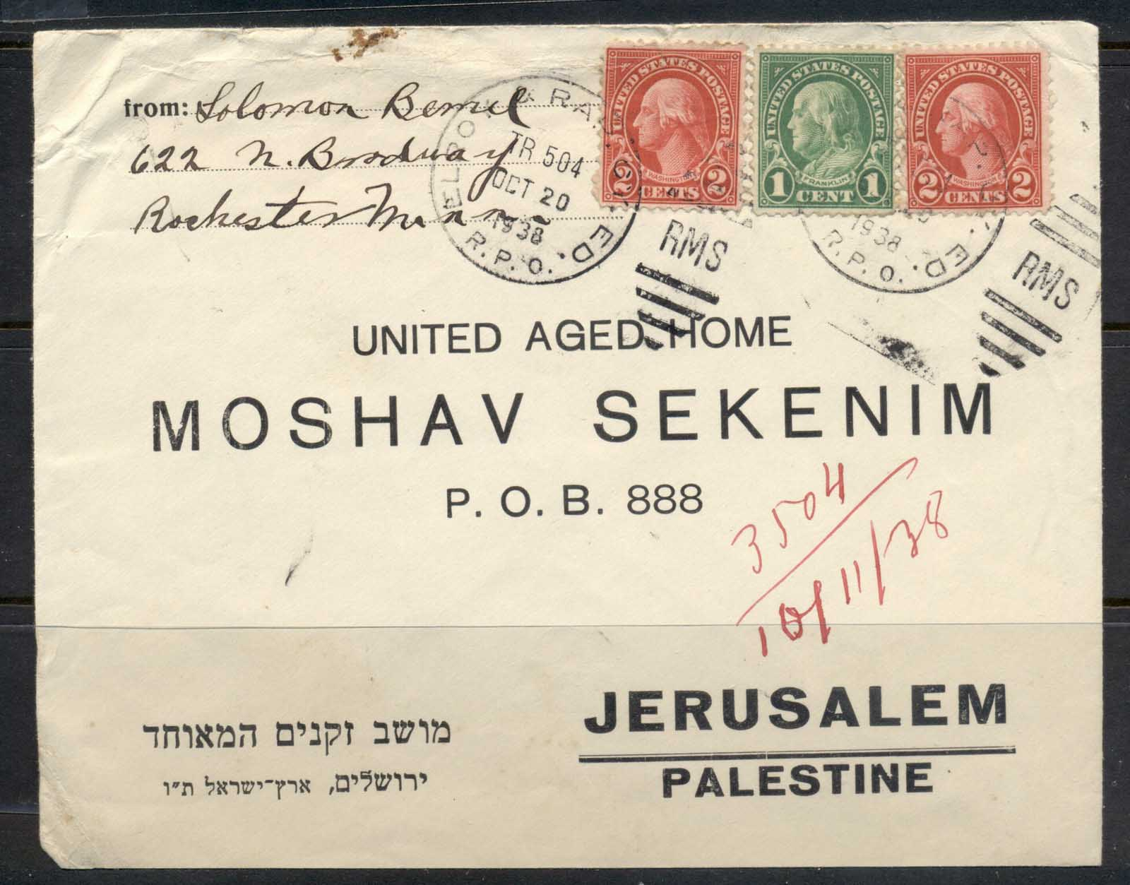 USA 1922-38 Fourth Bureau Elroy 1938 to United Aged Home Palestine cover