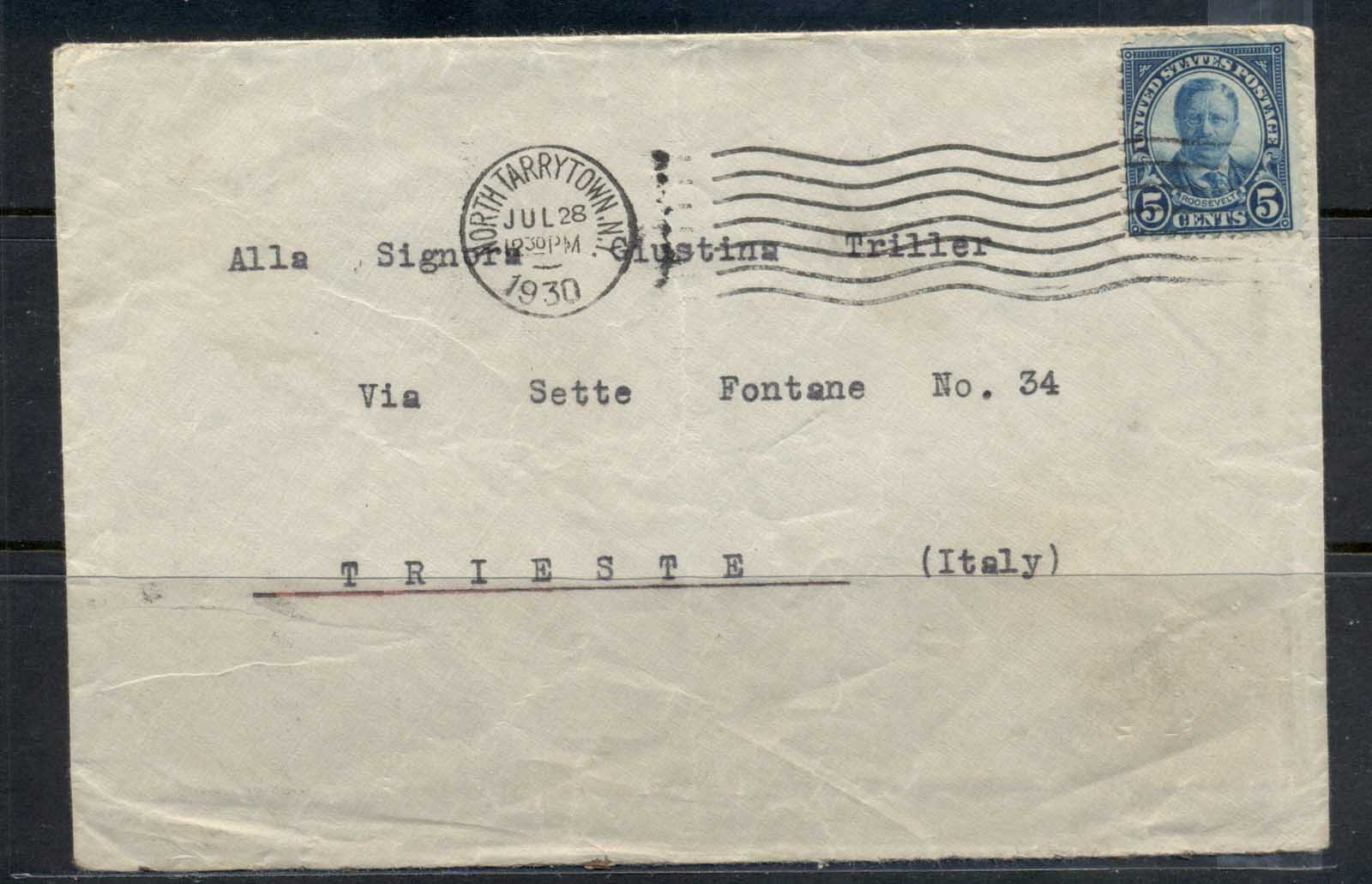 USA 1922-38 Fourth Bureau Roosevelt 5c, North Tarrytown 1930 to Italy cover