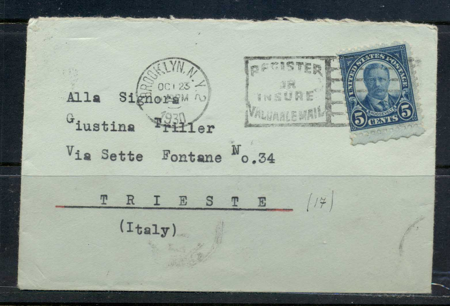 USA 1922-38 Fourth Bureau Roosevelt 5c Brooklyn 1930 to Italy cover