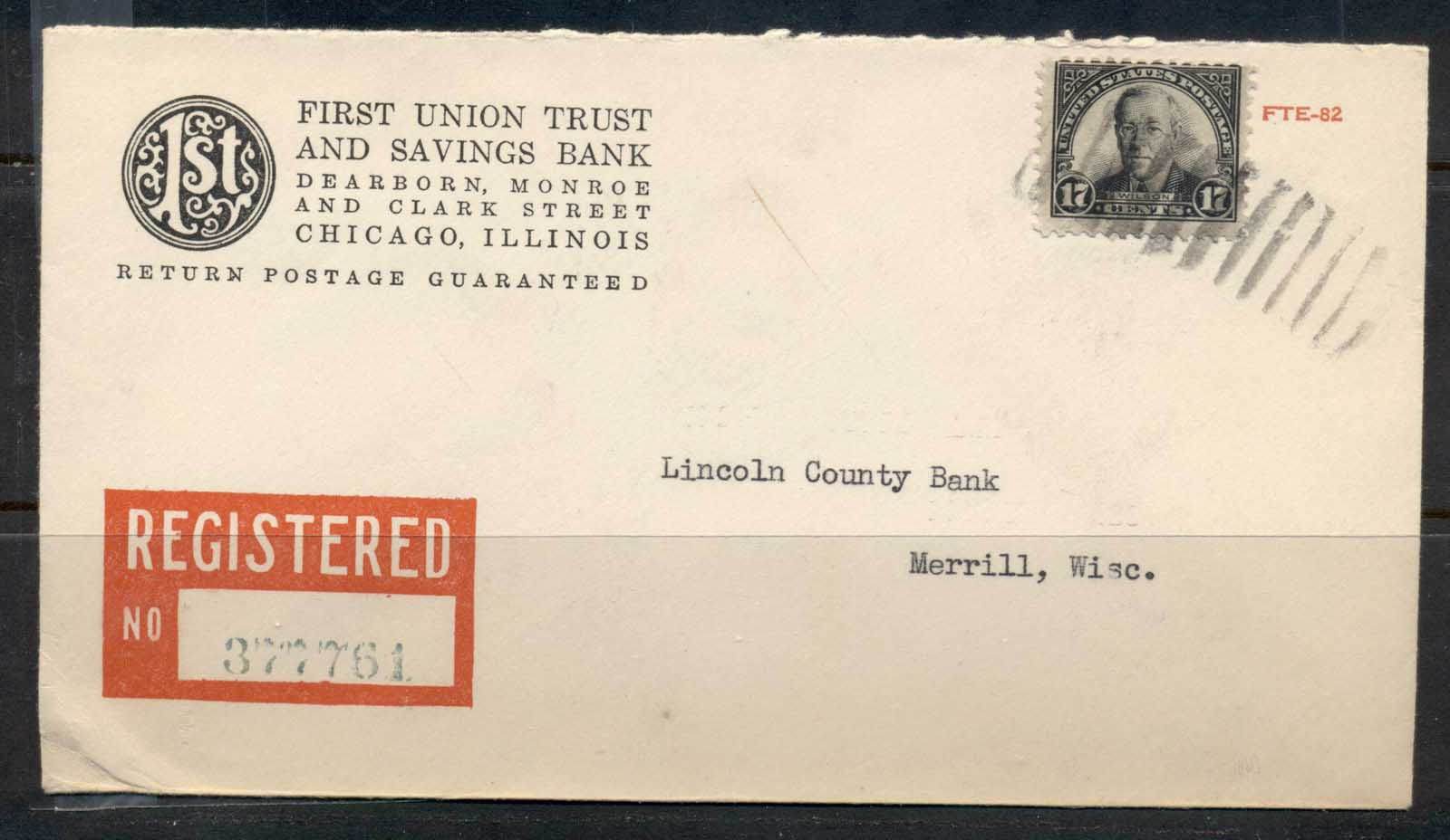 USA 1922-38 Fourth Bureau Registered First Union Trust and Savings bank CC 17c Wilson cover