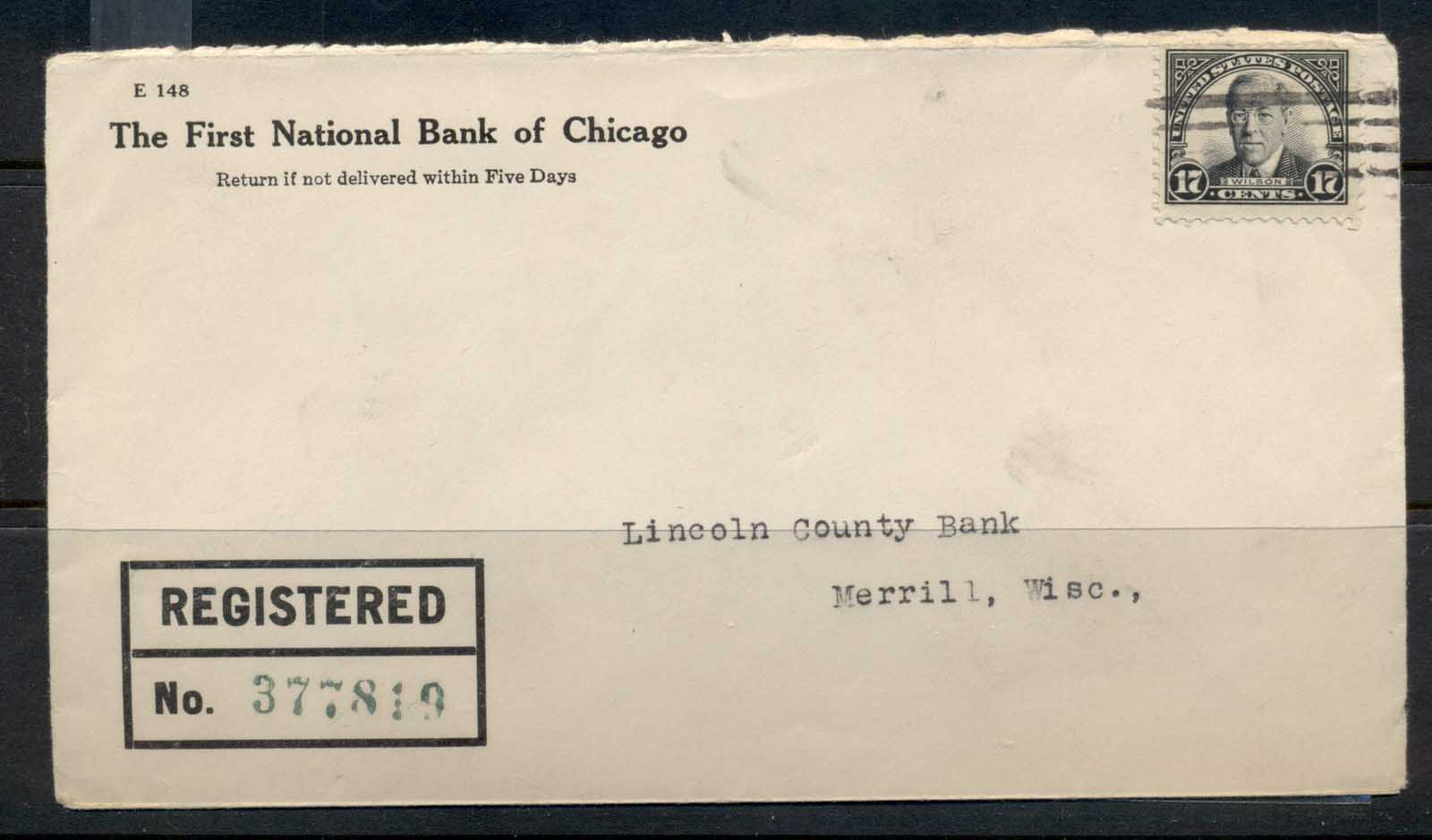 USA 1922-38 Fourth Bureau Registered First National bank CC 17c Wilson cover