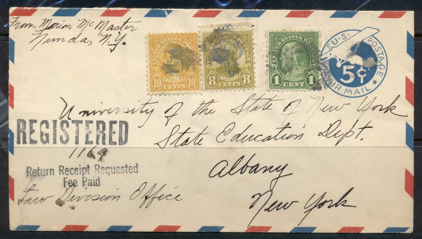 USA 1922-38 Fourth Bureau Uprated Airmail PSE Registered Sebring 1936 cover