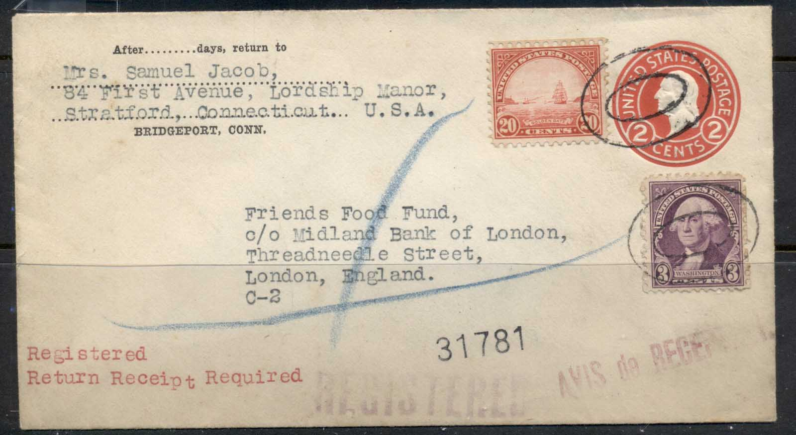 USA 1922-38 Fourth Bureau Uprated PSE mixed franking Golden gate 20c Registered Bridgeport 1937 cover