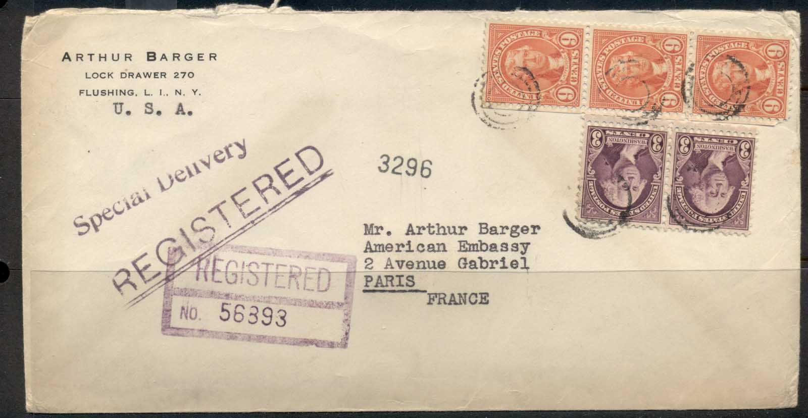 USA 1922-38 Fourth Bureau Jefferson 3x9c Registered Flushing 1938 cover