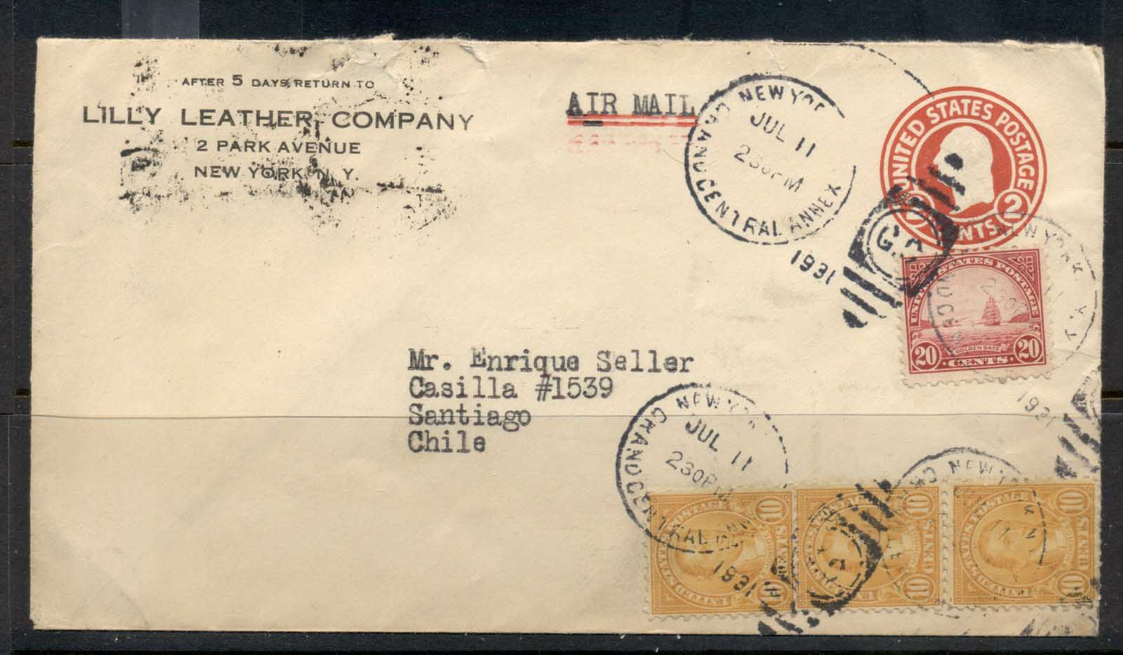 USA 1922-38 Fourth Bureau Uprated PSE Lilly Leather CC New York Air Mail to Chile cover