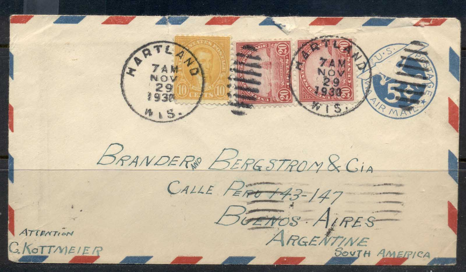 USA 1922-38 Fourth Bureau Golden Gate 20c pr uprated Airmail PSE Hartlend to Argentina cover
