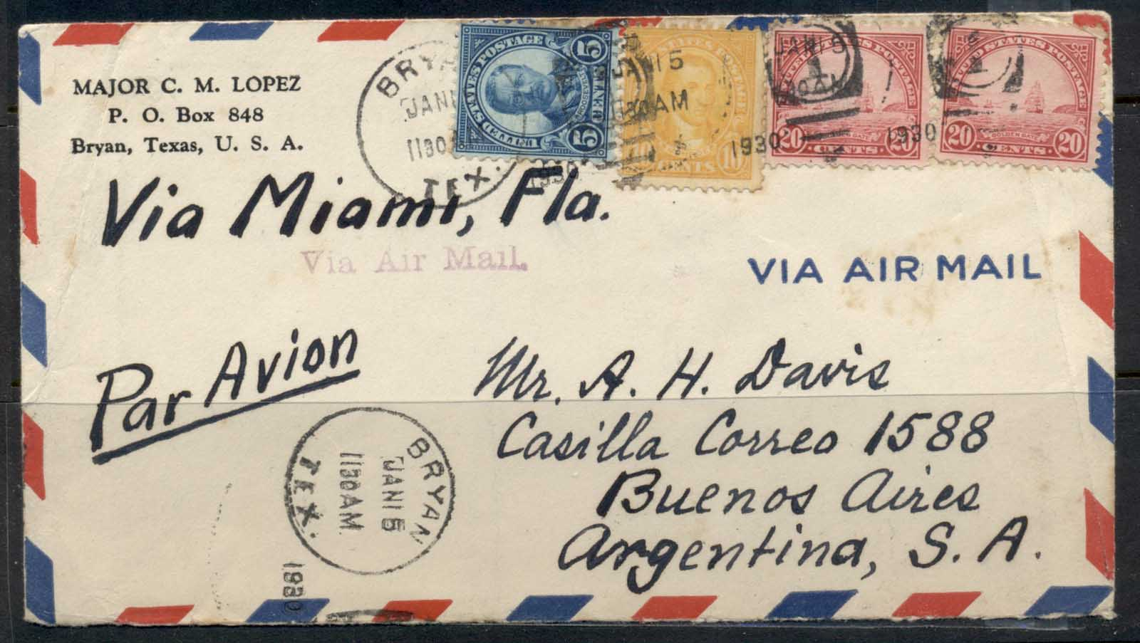 USA 1922-38 Fourth Bureau Golden Gate 20c pr Bryan 1930 via. Miami to Argentina Air mail cover