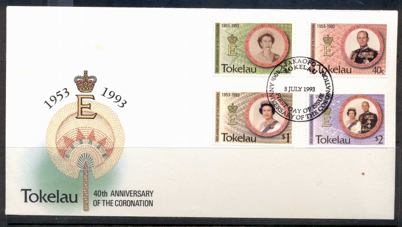 Tokelau 1993 QEII Coronation 40th Anniv. FDC