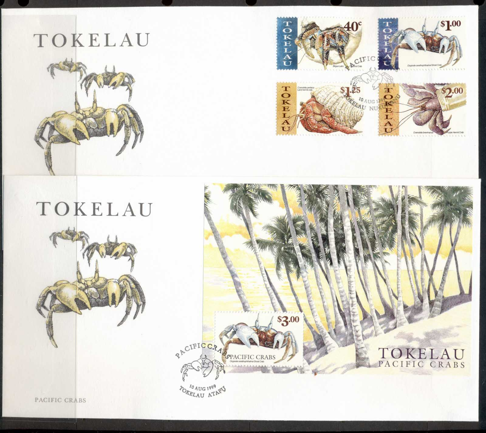 Tokelau 1999 Pacific Crabs 2xFDC