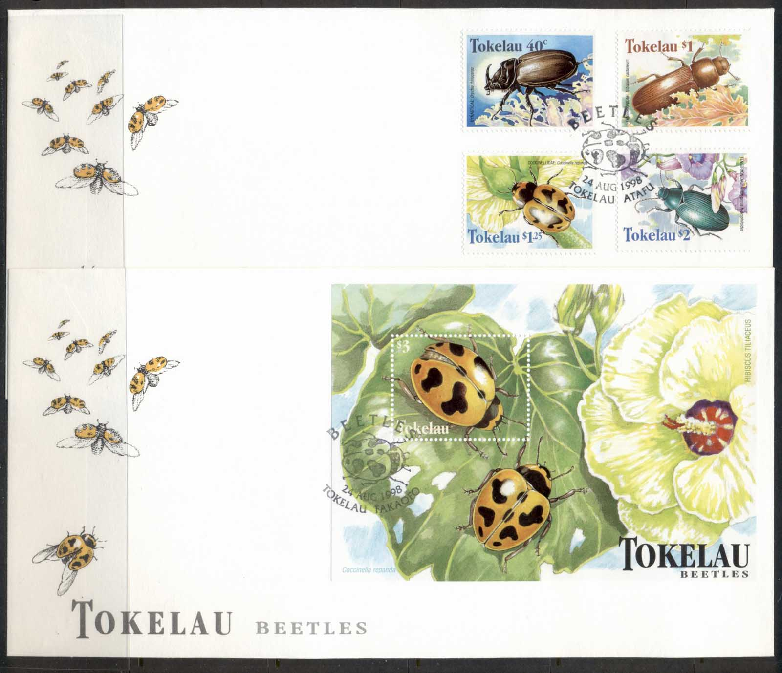Tokelau 1998 Beetles 2x FDC