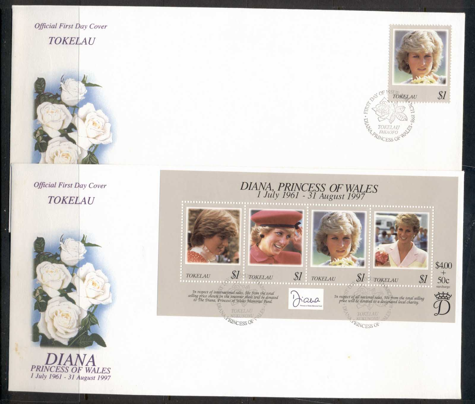 Tokelau 1998 Princess Diana in Memoriam 2x FDC - Click Image to Close