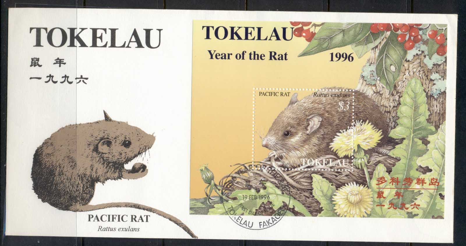 Tokelau 1996 New year of the Rat MS FDC