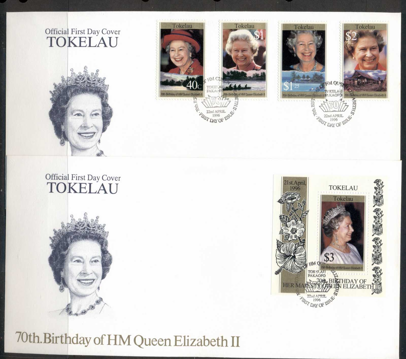 Tokelau 1996 QEII 70th Birthday 2x FDC