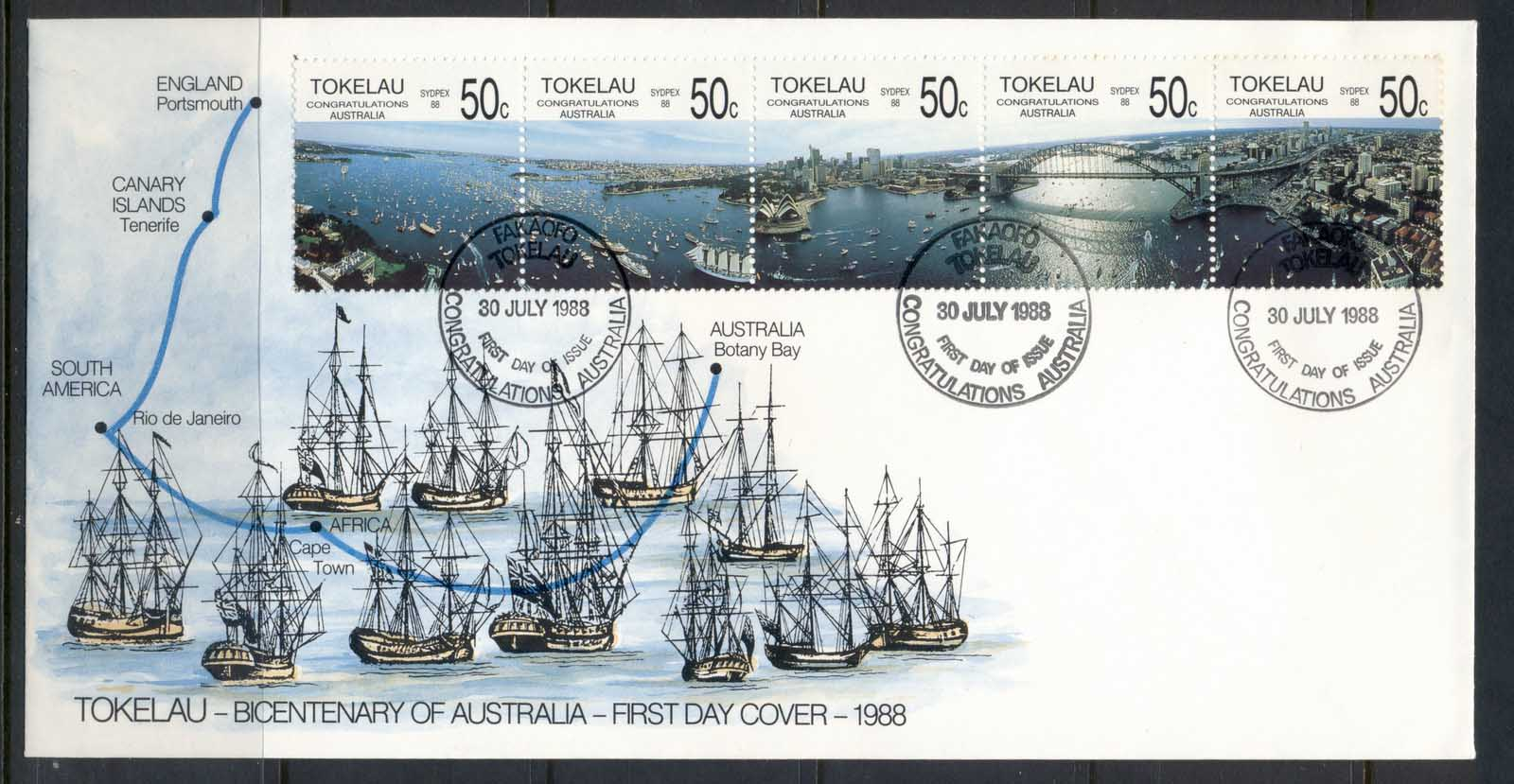 Tokelau 1988 Bicentenary of Australia FDC