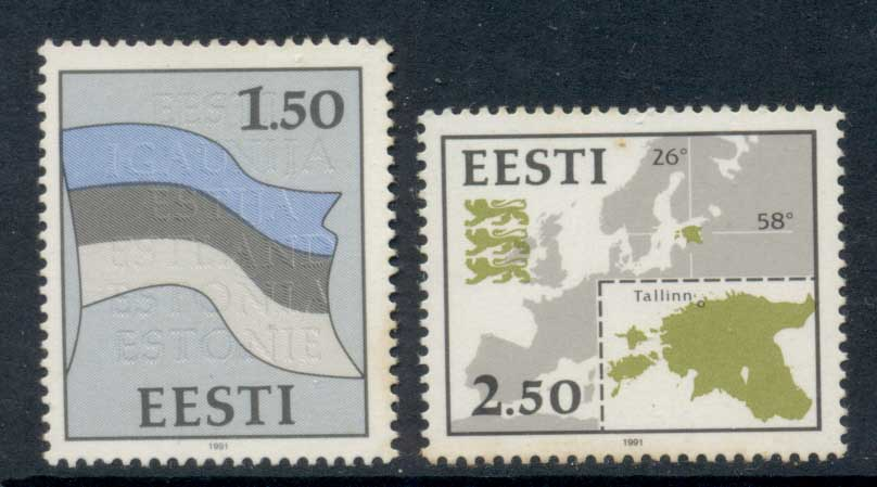 Estonia 1991 Flag & Map MUH