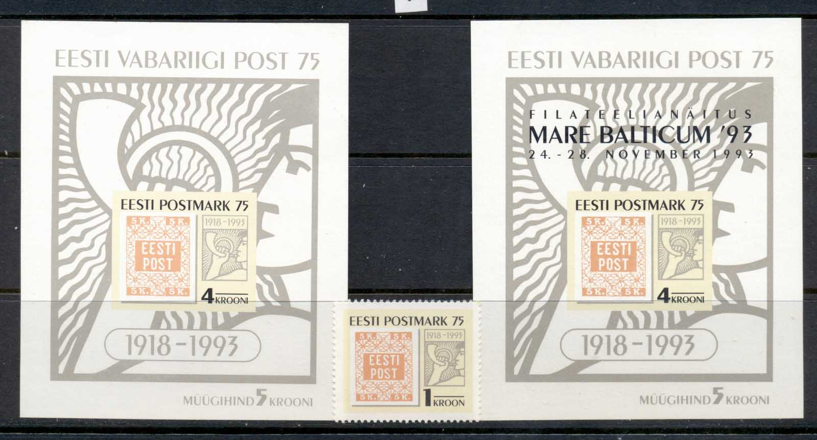 Estonia 1993 First Estonian Postage Stamp Anniv + 2xMS MUH