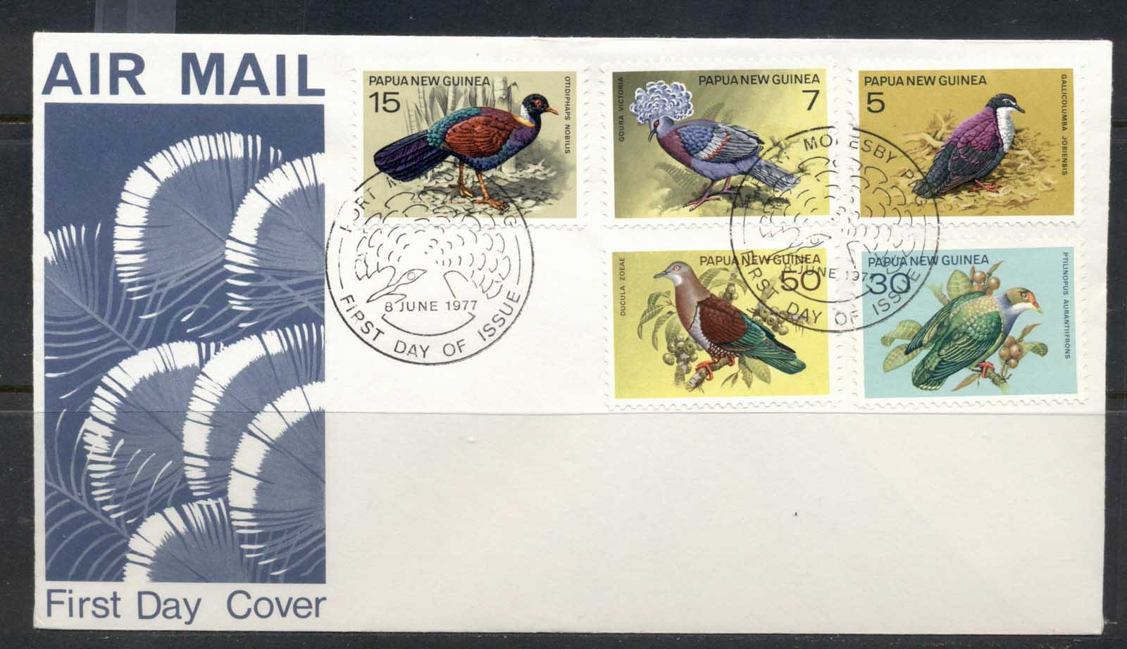 PNG 1977 Pigeons, Birds FDC