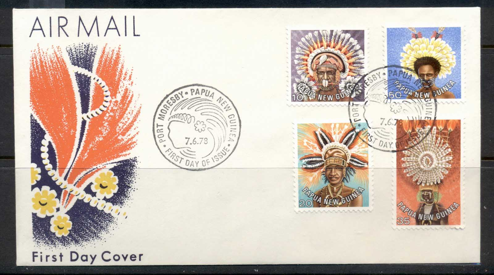 PNG 1978 Headresses 10,20,35,50t FDC
