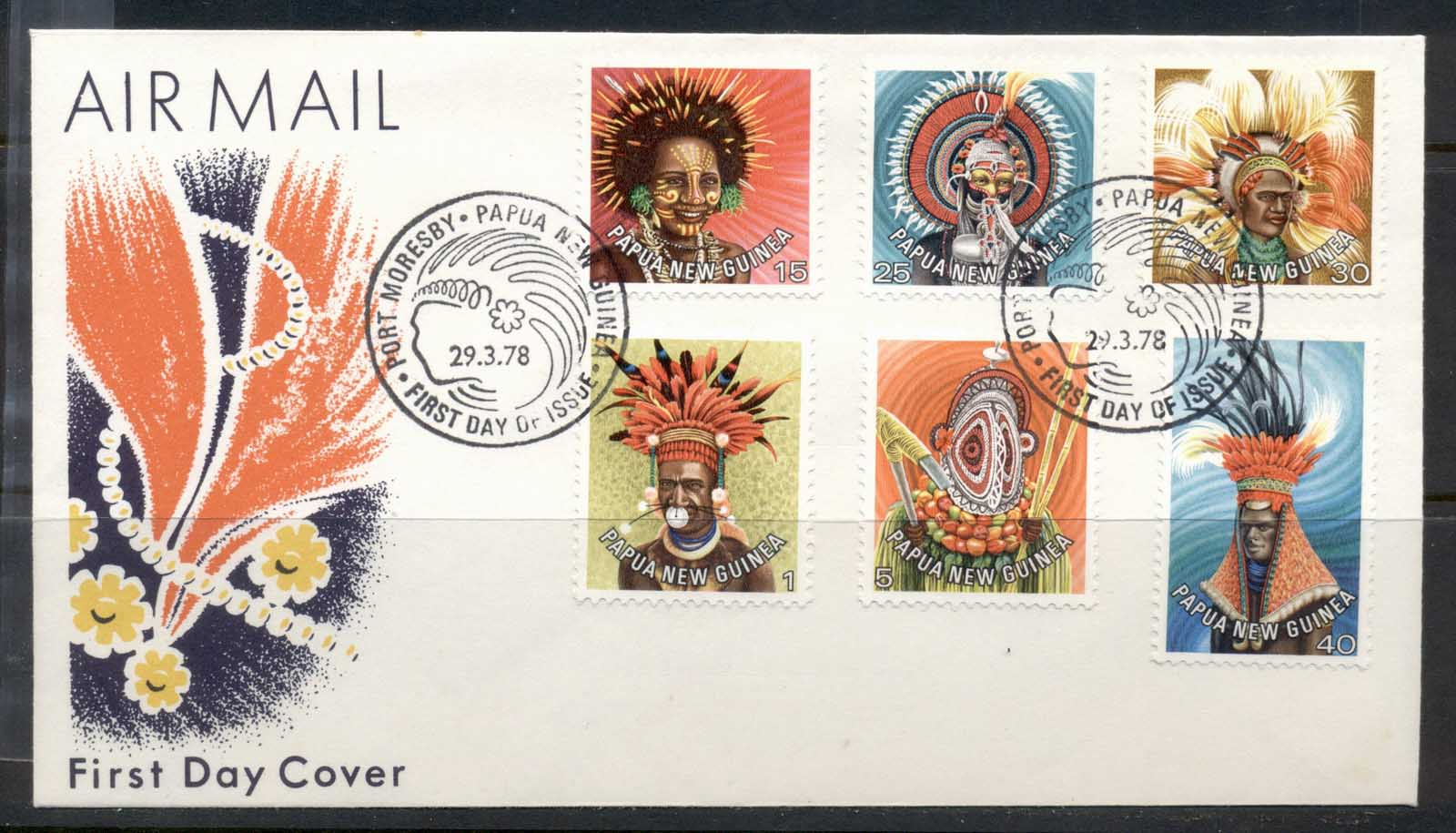 PNG 1978 Headresses 1,5,15,25,30,40t FDC