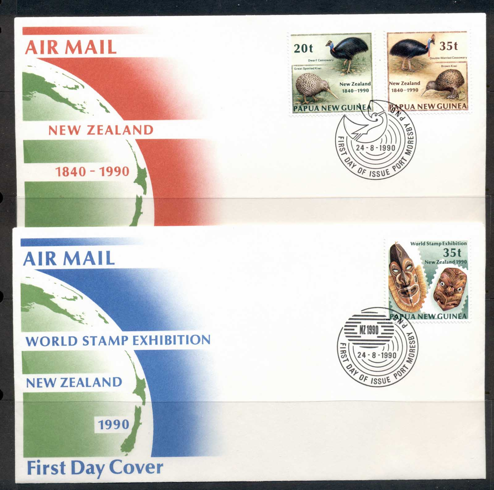 PNG 1990 New Zealand Satmp Ex 2x FDC