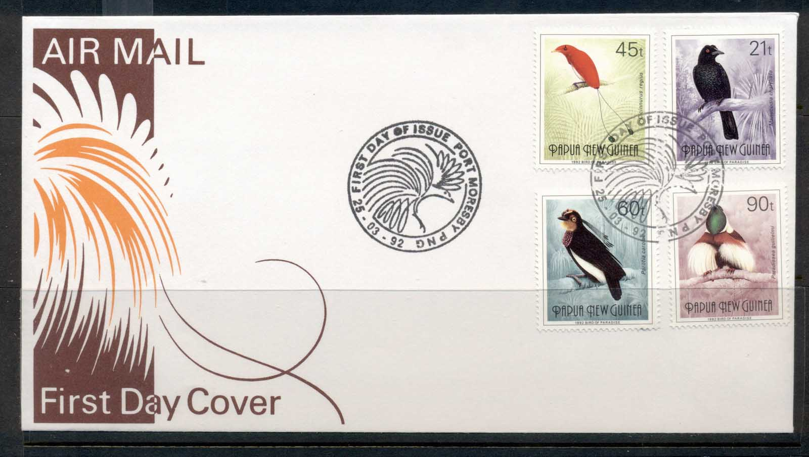 PNG 1992 Birds of Paradise II (4) (21t,45t,60t,90t) FDC