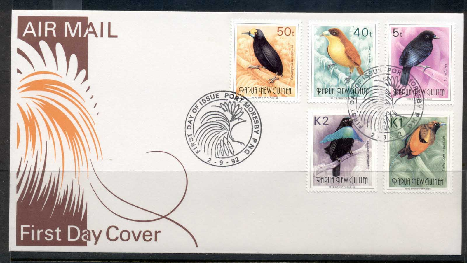 PNG 1992 Birds of Paradise III(5) (5t,40t,50t,K1,K2) FDC