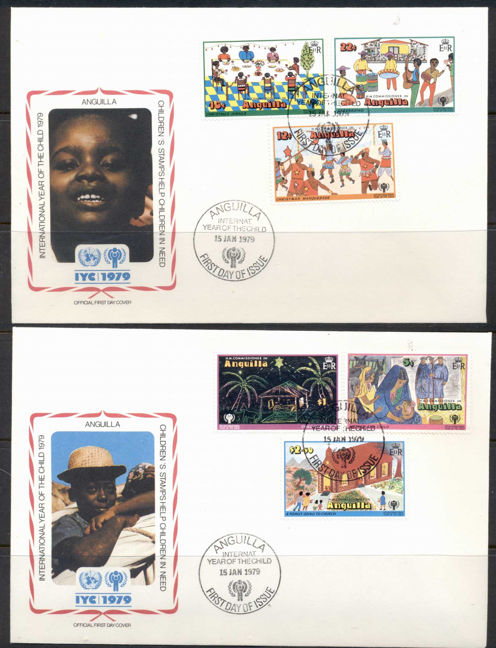 Anguilla 1979 IYC International year of the Child 2x FDC