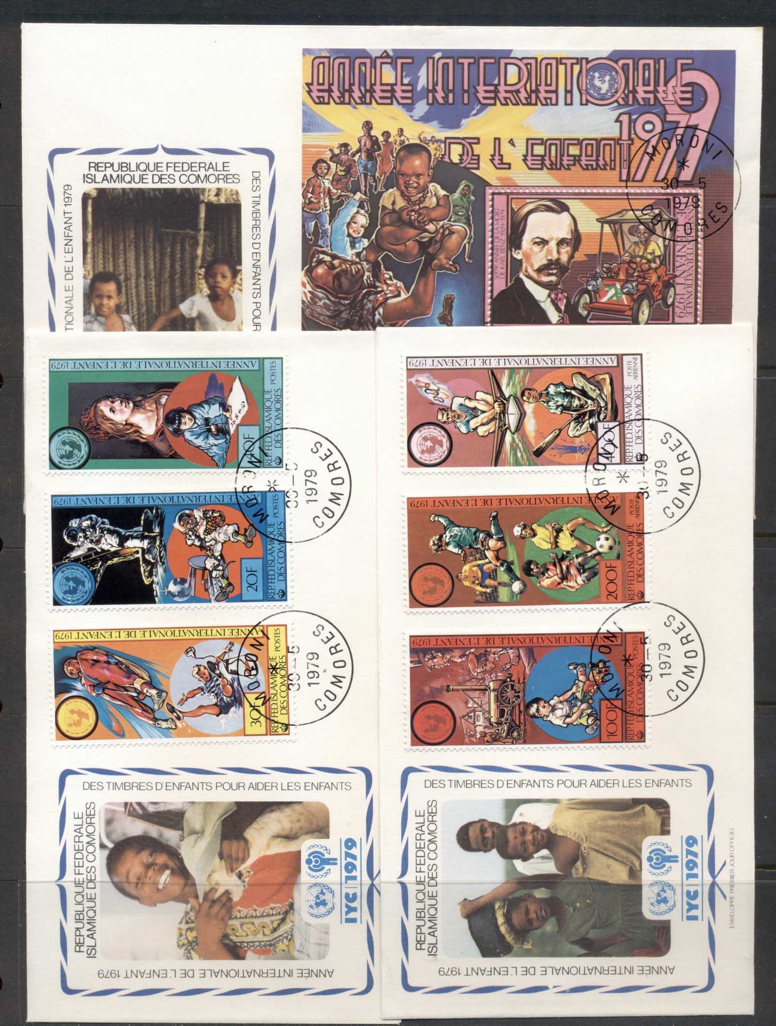Comoro Is 1979 IYC International year of the Child + MS 3x FDC