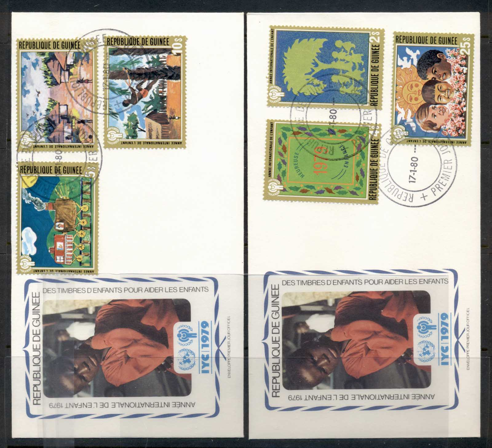 Guinea 1979 IYC International year of the Child 2x FDC
