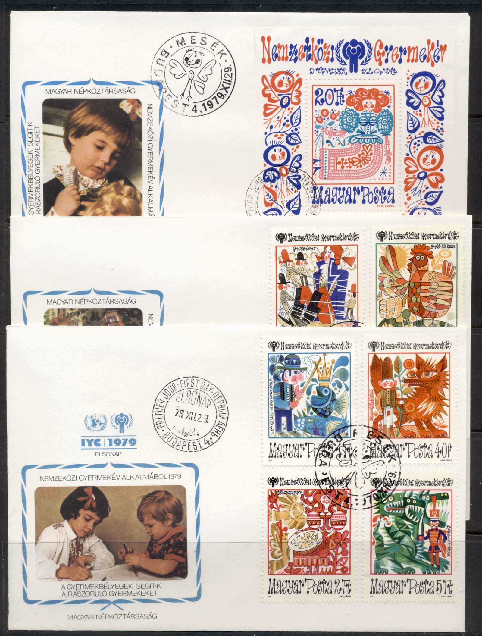 Hungary 1979 IYC International year of the Child + MS 3x FDC