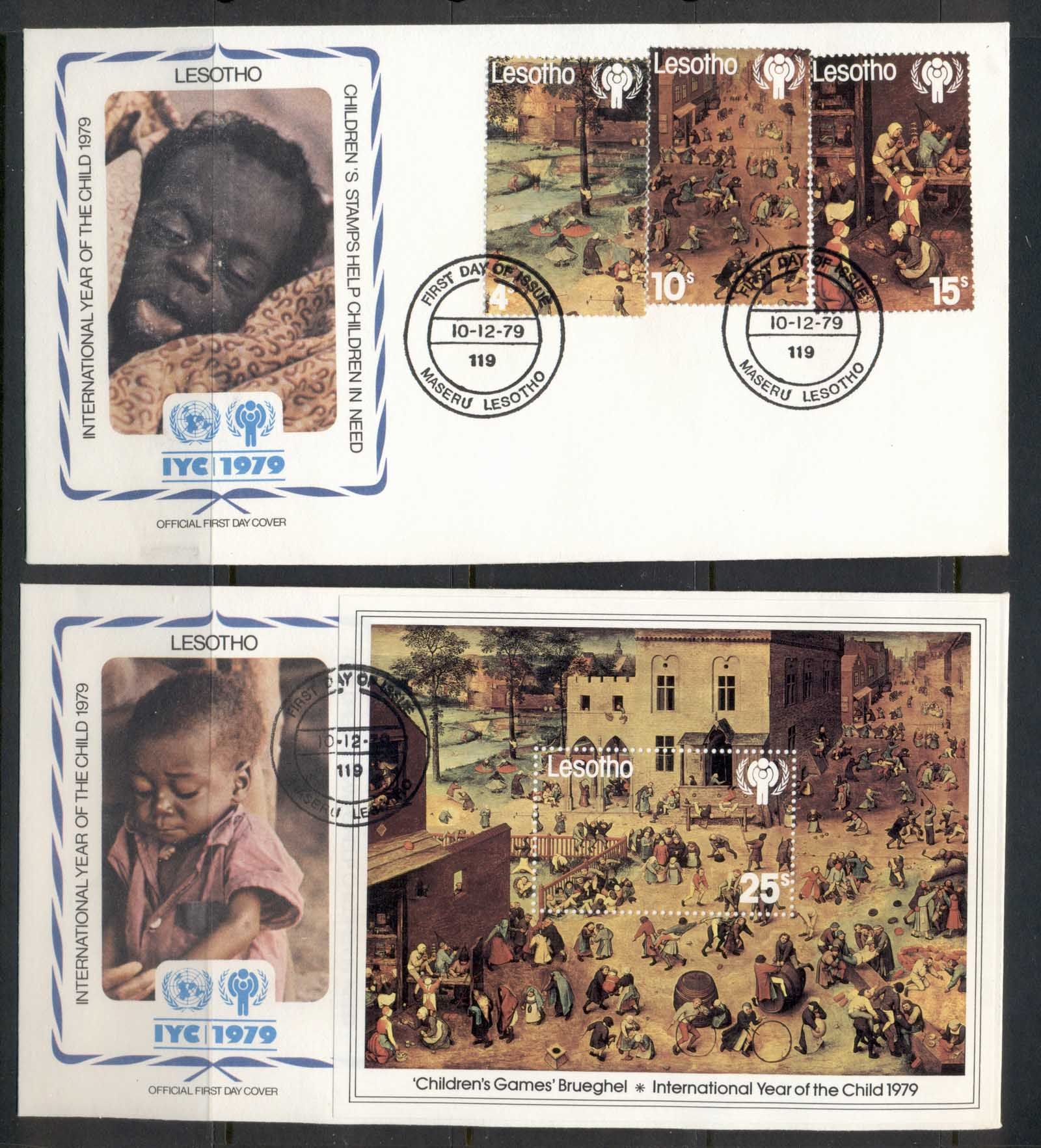 Lesotho 1979 IYC International year of the Child + MS 2x FDC