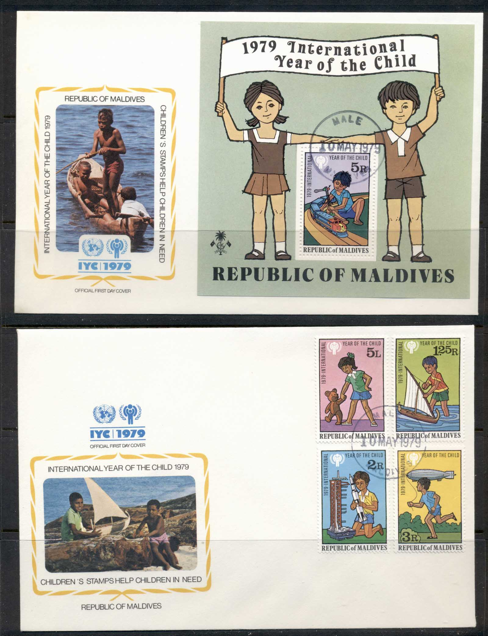 Maldive Is 1979 IYC International year of the Child +MS 2xFDC