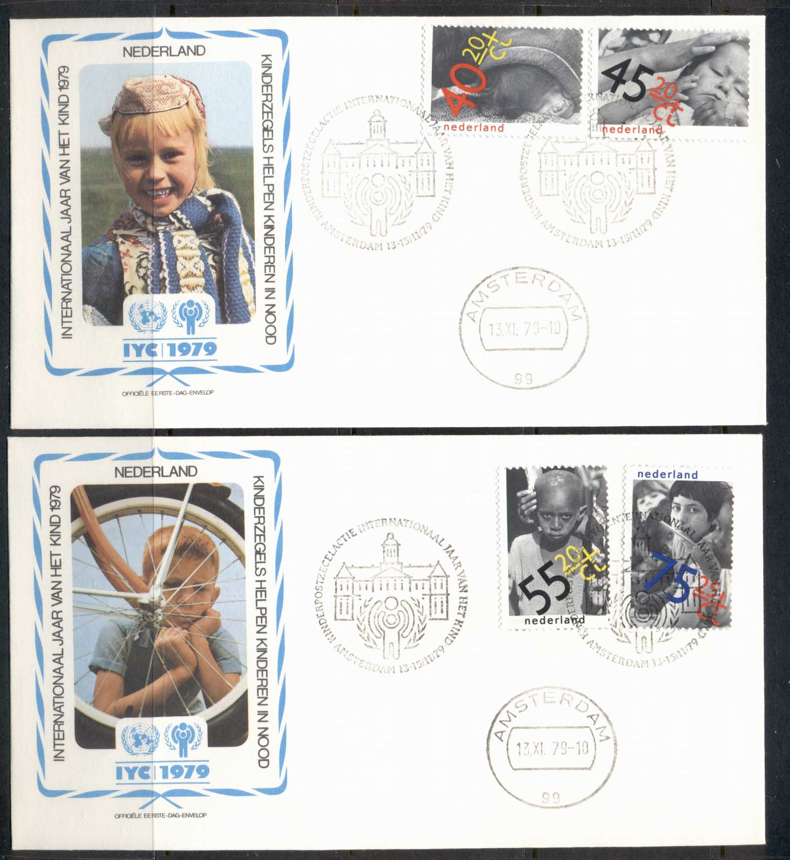Netherlands 1979 IYC International year of the Child 2x FDC