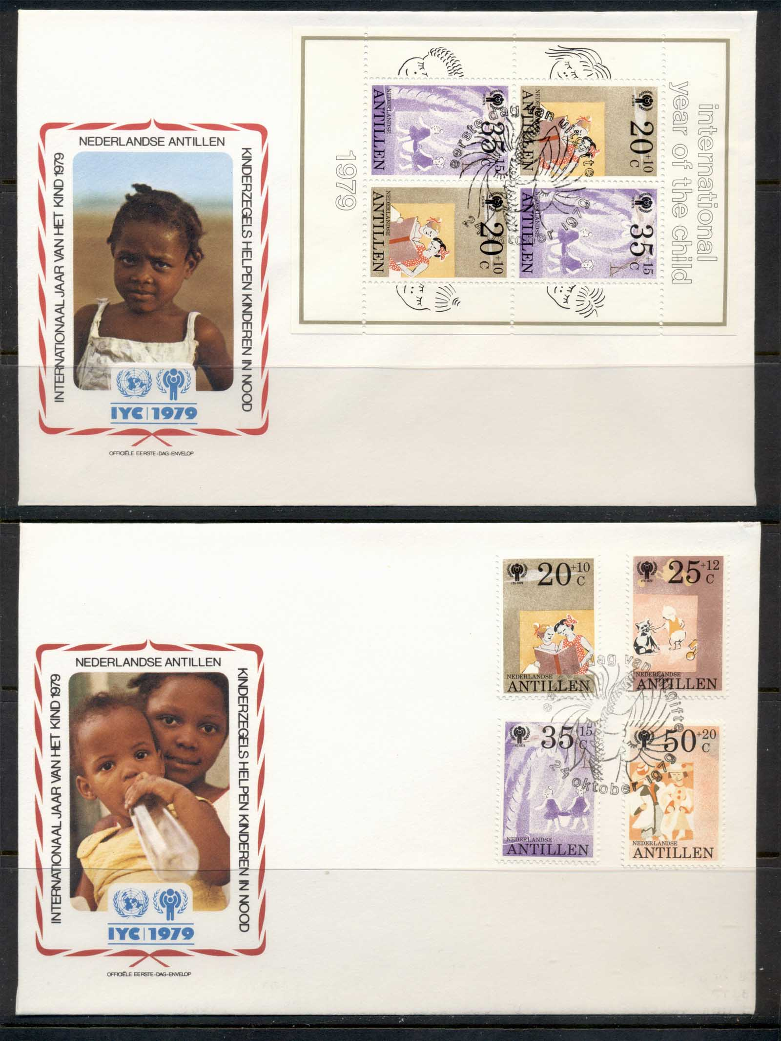 Netherland sAntilles 1979 IYC International year of the Child +MS 2x FDC