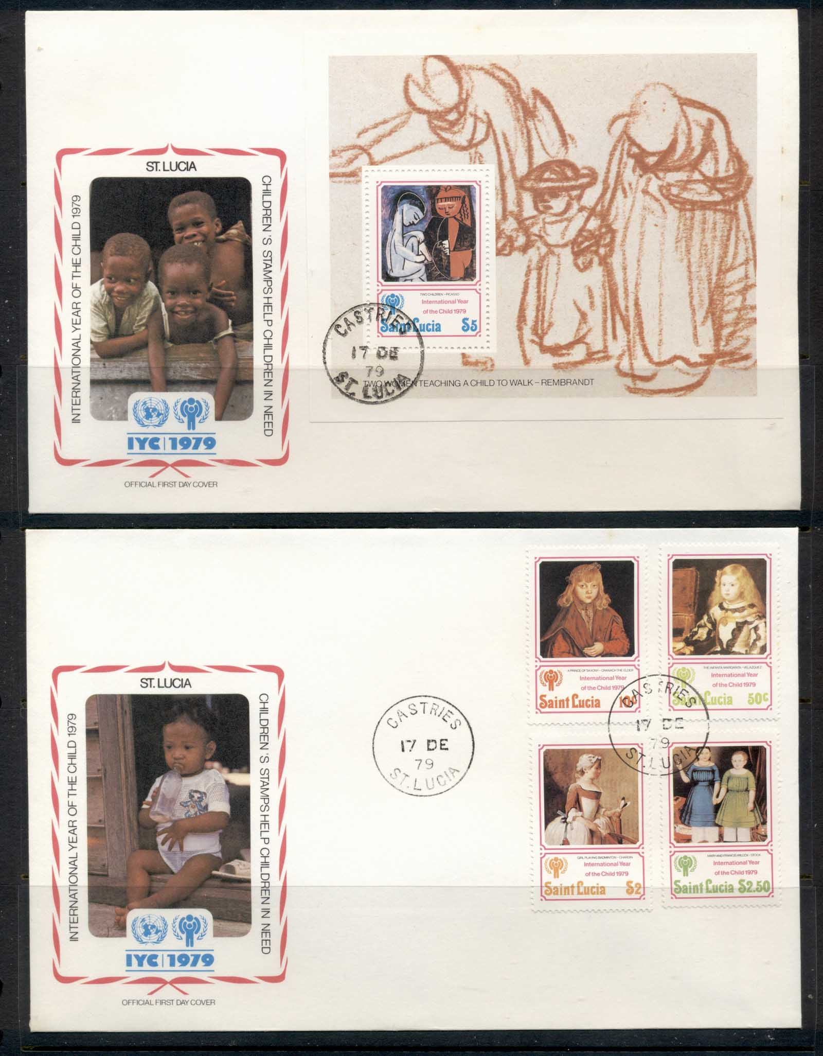 St Lucia 1979 IYC International year of the Child +Ms 2x FDC