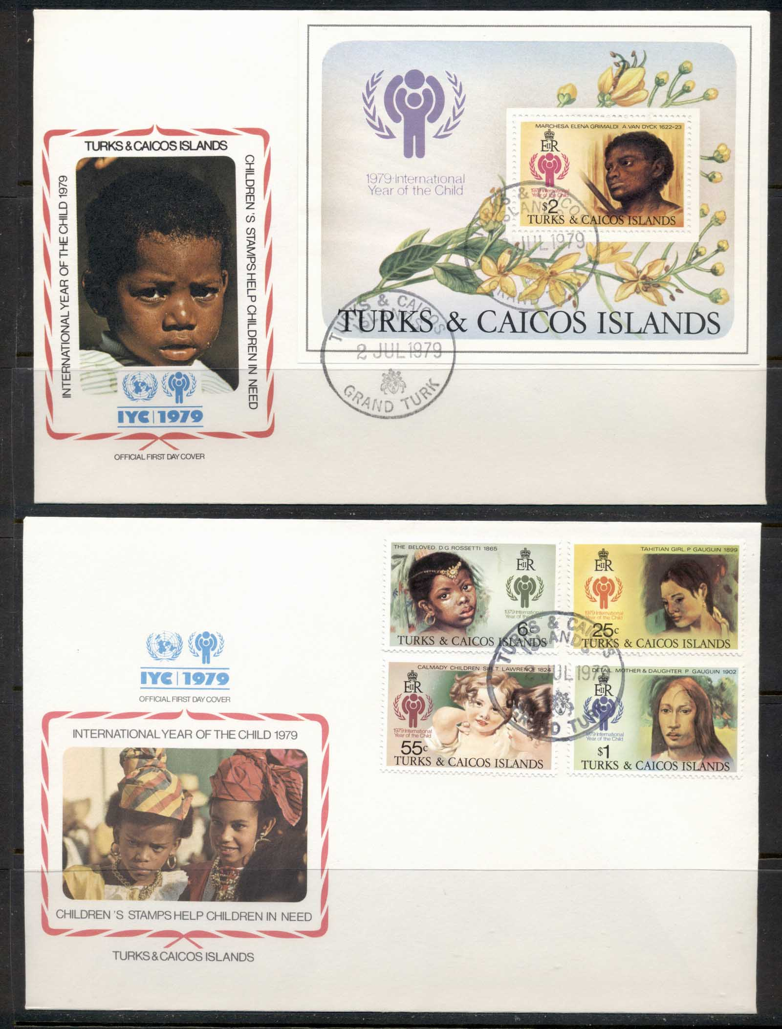 Turks & Caicos Is 1979 IYC International year of the Child +MS 2x FDC