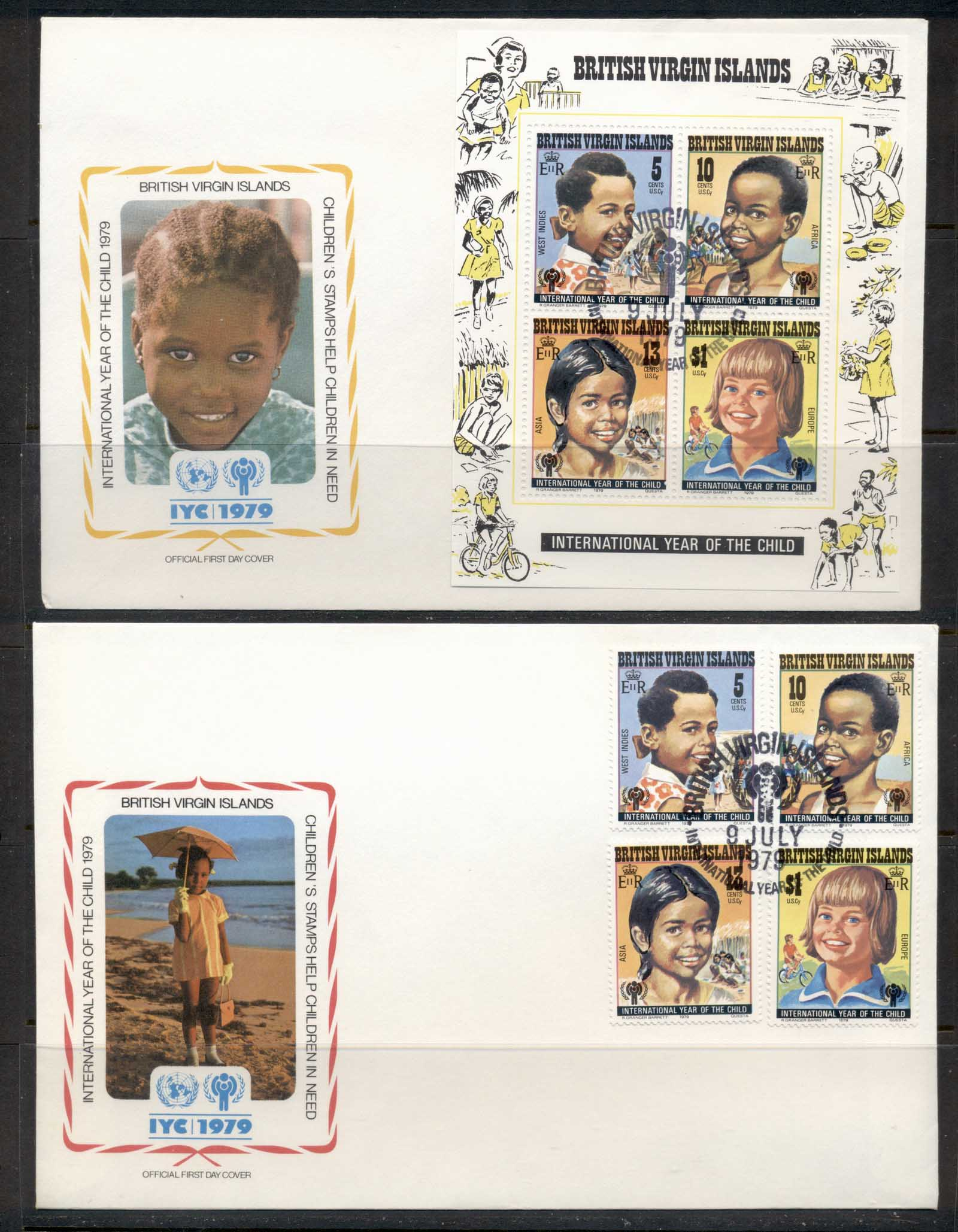 Virgin Is 1979 IYC International year of the Child +MS 2x FDC