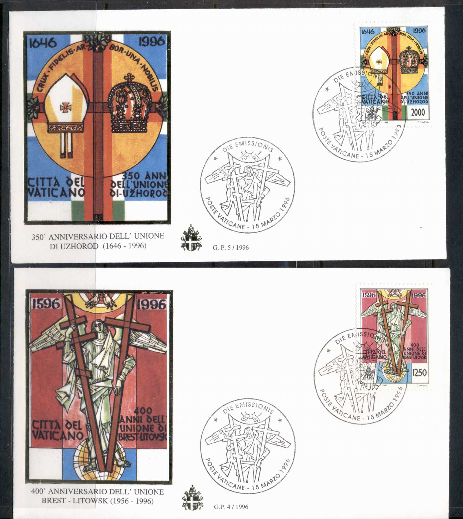 Vatican 1996 Religious Anniversries 2x FDC