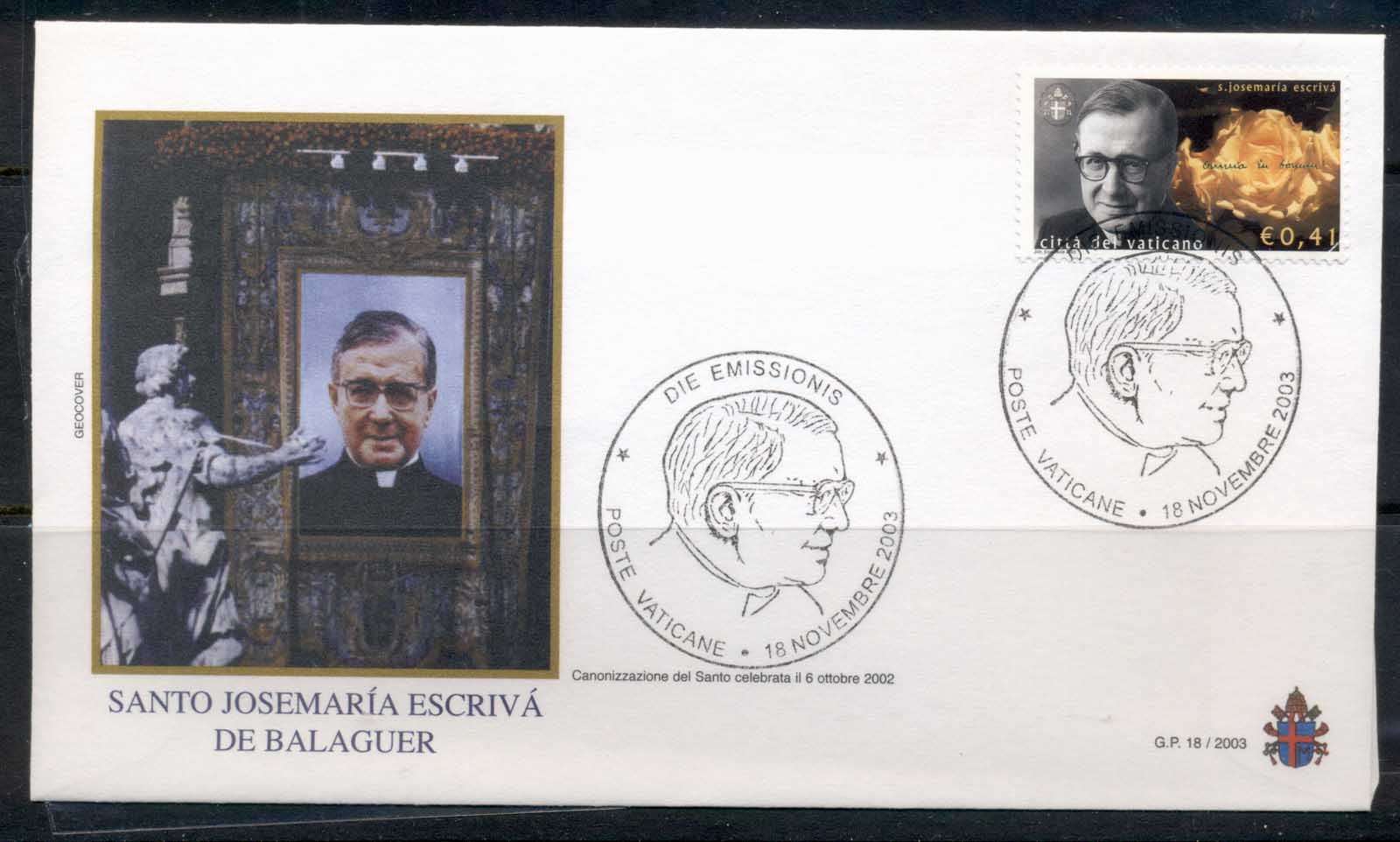 Vatican 2003 Canonization of Balaguer FDC - Click Image to Close