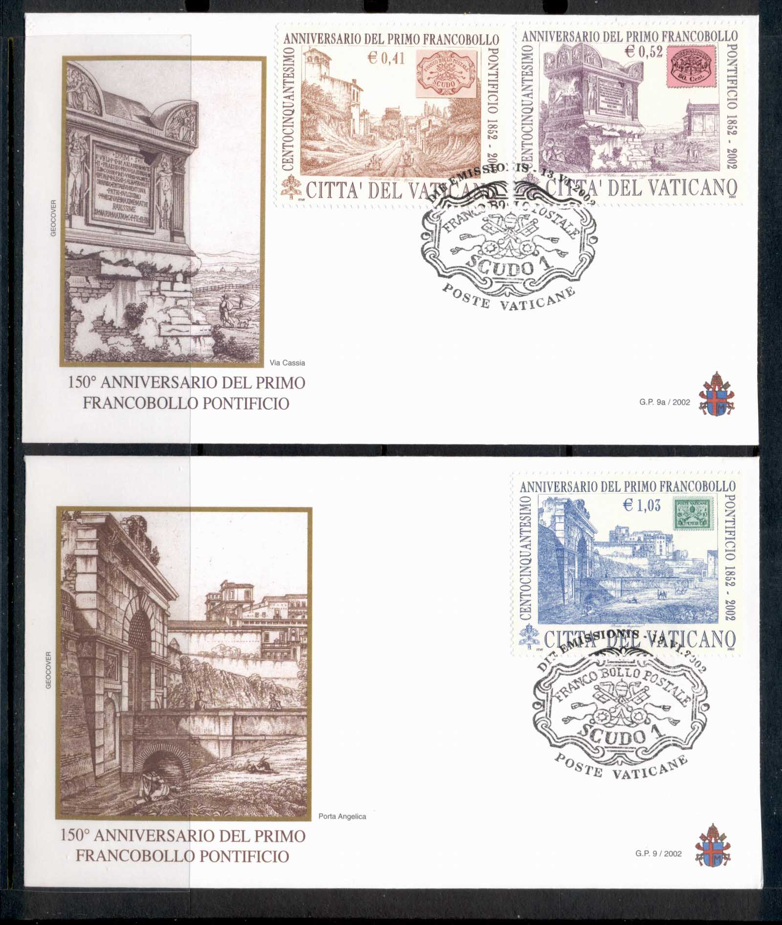 Vatican 2002 Roman States Postage Stamps 2x FDC