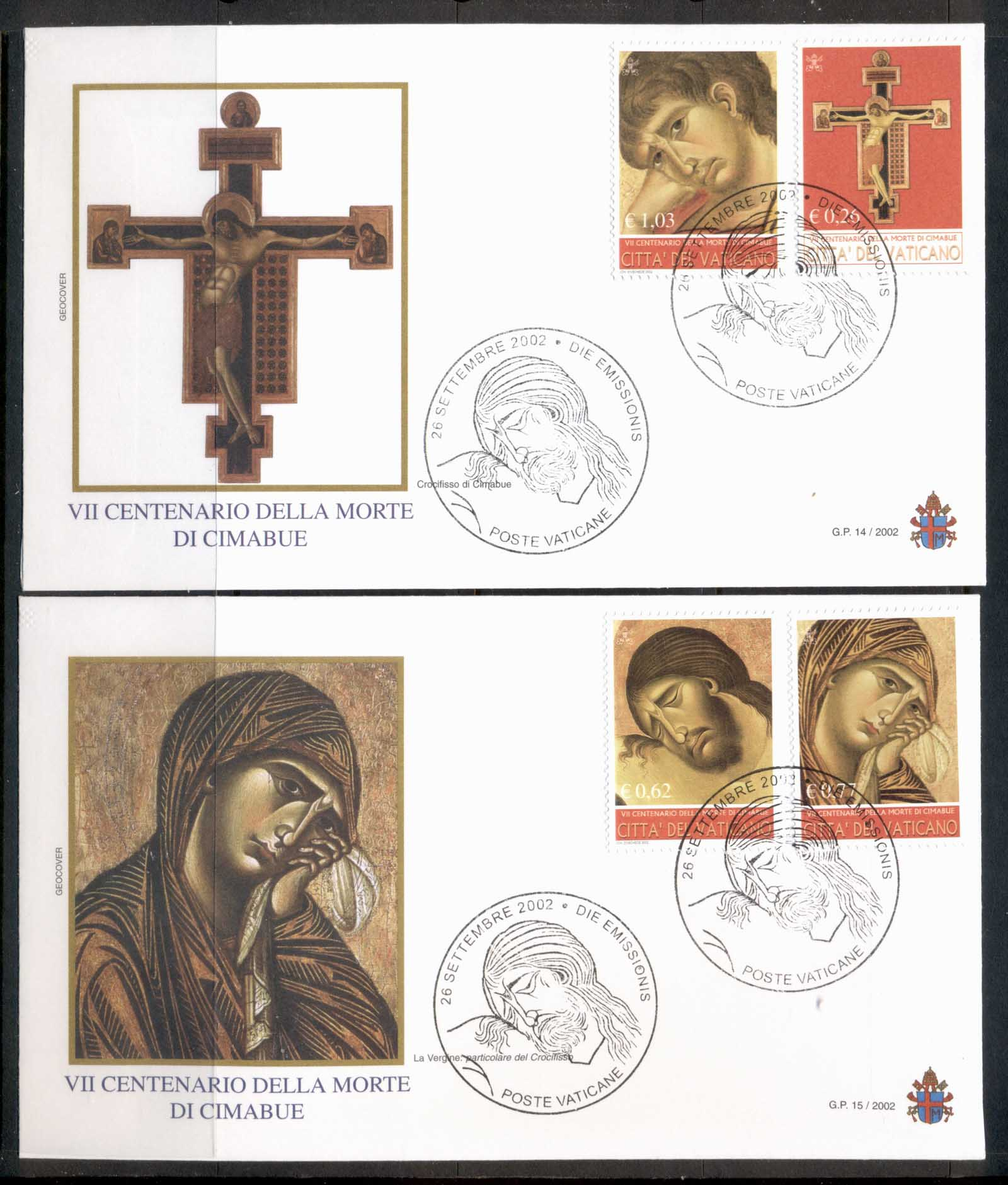 Vatican 2002 Cimaube, Paintings 2x FDC