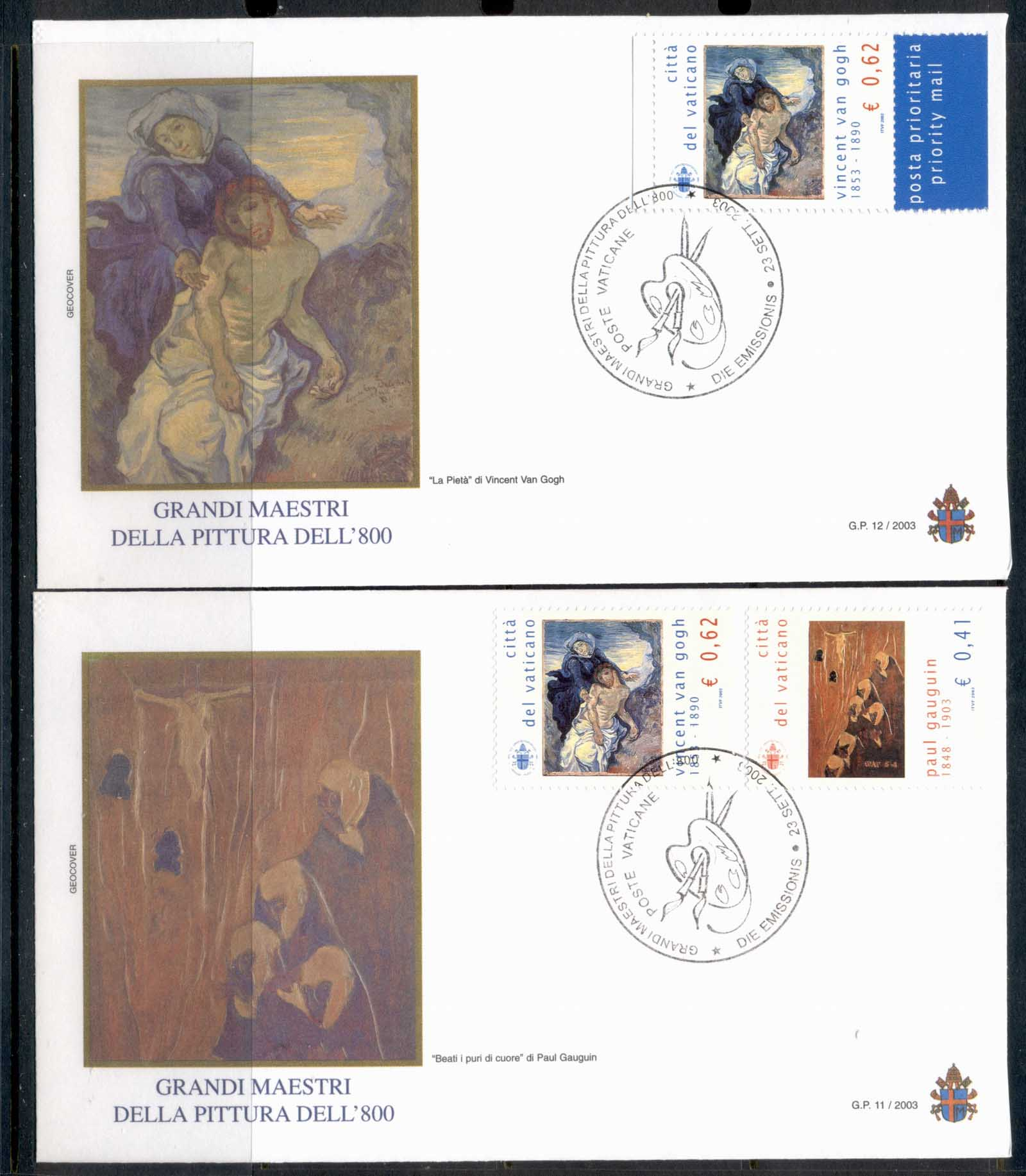 Vatican 2003 19th Century Artists 2x FDC