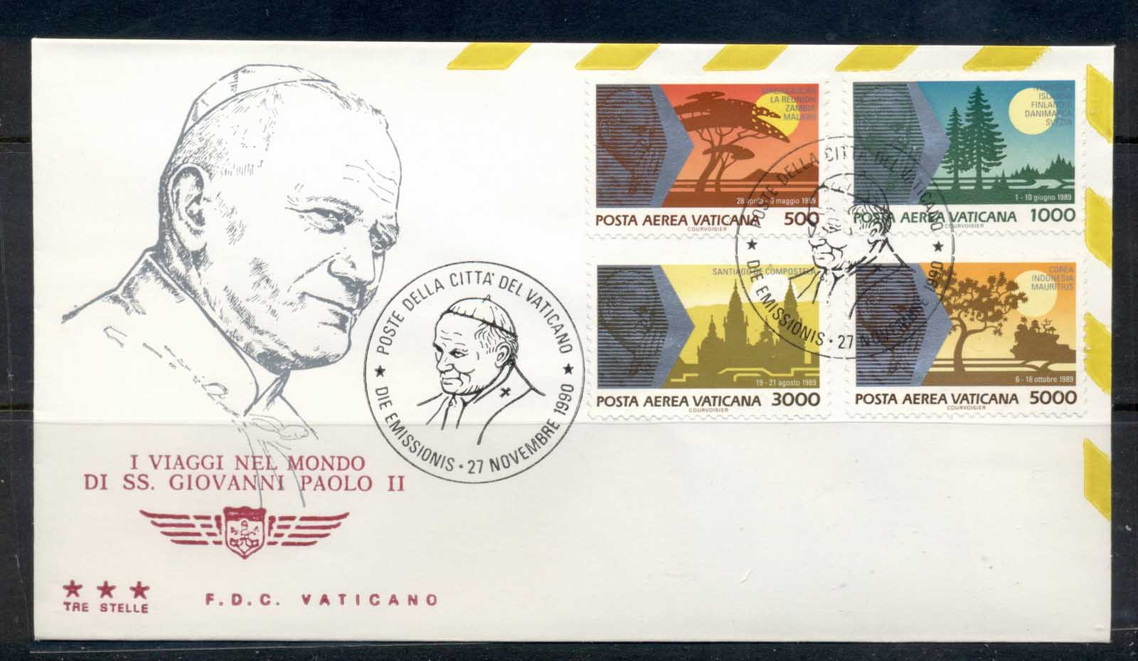 Vatican 1990 Journeys of Pope John paul II FDC
