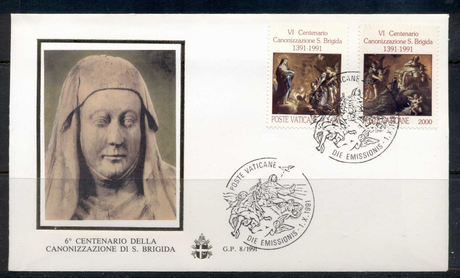 Vatican 1991 Canonization of St Bridget FDC