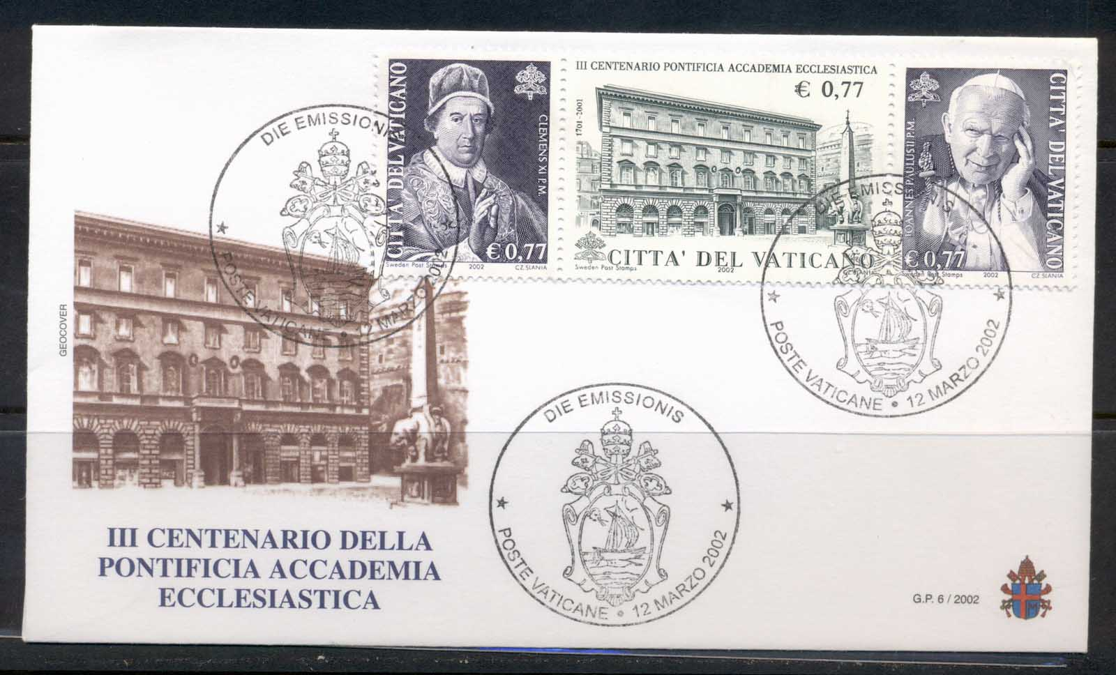 Vatican 2002 Pontifical Ecclesiastical Academy FDC