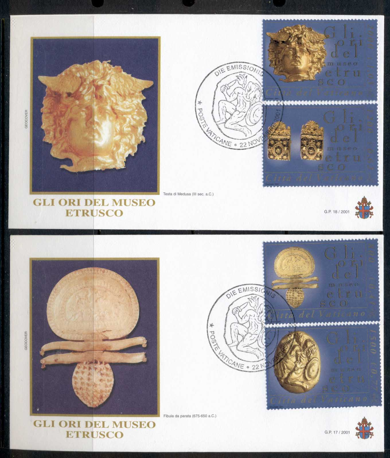 Vatican 2001 Etruscan Museum Gold Objects 2x FDC