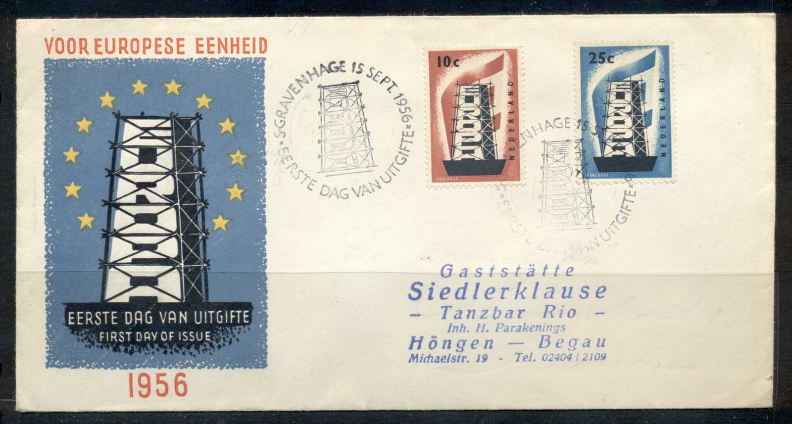 Netherlands 1956 Europa FDC